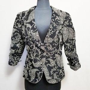New Cabi Jacket Brocade Black Shawl Collar Size 10